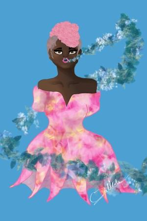 Black Girl Flower Print